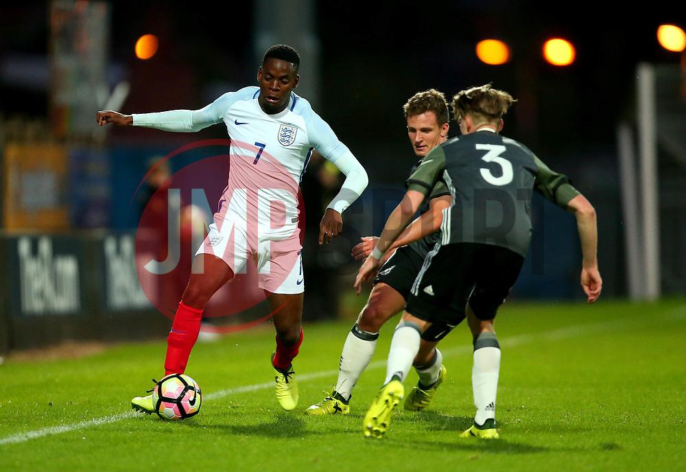 Jonathan Leko of England takes on Gian-Luca Itter of Germany Under 19s - Mandatory by-line: Robbie Stephenson/JMP - 05/09/2017 - FOOTBALL - One Call Stadium - Mansfield, United Kingdom - England U19 v Germany U19 - International Friendly