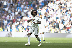 October 20, 2018 - Madrid, Madrid, Spain - Marcelo of Real Madrid celebrates after the goal during a match for the Spanish League between Real Madrid and Levante at Santiago Bernabeu Stadium on October 20, 2018 in Madrid, Spain. (Credit Image: © Patricio Realpe/NurPhoto via ZUMA Press)