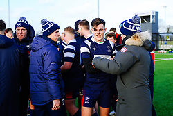 Ian Madigan congratulates Tom Wilstead of Bristol Bears U18 after Bears U18 win 18-17 - Rogan/JMP - 14/12/2019 - RUGBY UNION - Shaftesbury Park - Bristol, England - Bristol Bears U18 v Bath Rugby U18 - Premiership Rugby U18 Academy League.