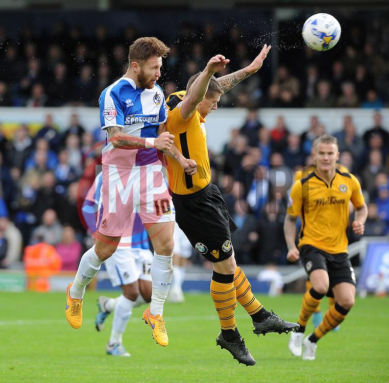 Matty Taylor of Bristol Rovers gets a header away - Mandatory byline: Neil Brookman/JMP - 07966 386802 - 24/10/2015 - FOOTBALL - Memorial Stadium - Bristol, England - Bristol Rovers v Newport County AFC - Sky Bet League Two