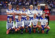 24.08.1986, Pori, Finland..Mestaruussarja / Finnish National Championship,  Porin Pallo-Toverit v Mikkelin Palloilijat. PPT:n avauskokoonano, takana vasemmalta: /PPT Pori starting line up. standing from left: Petri Sulonen, Jorma Heinonen, Ari Suonpää, Marko Nieminen, Pasi Sulonen, Seppo Lehtikangas.<br /> Edessä / Kneeling: Seppo Sulonen, Petri Järvinen, Jarmo Alatensiö, Risto Virtanen, Kari Pohjola.