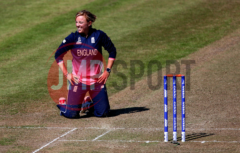 Danielle Hazell of England Women sits on her knees - Mandatory by-line: Robbie Stephenson/JMP - 05/07/2017 - CRICKET - County Ground - Bristol, United Kingdom - England Women v South Africa Women - ICC Women's World Cup Group Stage