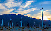 Windmills at sunset near Palm Springs, California.