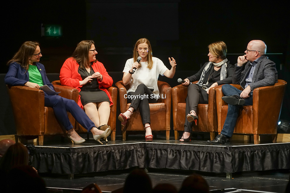 London,England,UK. 11th May 2017. Presenter Sue Day (L)Helen Richardson-Walsh (C) talks at the Women's Sport Trust Awards - #BeAGameChanger at The Troxy,london, UK. by See Li