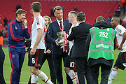 Manchester United Manager Louis van Gaal and Wayne Rooney of Manchester United during the The FA Cup Final between Crystal Palace and Manchester United at Wembley Stadium, London, England on 21 May 2016. Photo by Phil Duncan.