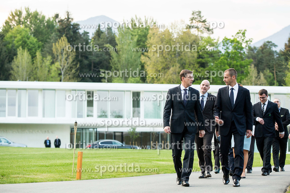 Miro Cerar, prime minister of Slovenia, Gianni Infantino, president of FIFA and Aleksander Ceferin, president of Football Association of Slovenia during Official opening of the Slovenian National football centre Brdo (Nacionalni nogometni center Brdo), on May 6, 2016, in Brdo pri Kranju, Slovenia. Photo by Vid Ponikvar / Sportida
