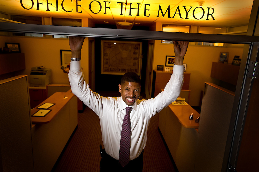 Sacramento Mayor Kevin Johnson at the doorway to his office at City Hall. Now that the budget is approved, Johnson is turning back to his vision for improving the city. It's one in which he is seeking voter empowerment to strengthen his office, to give him a broader platform to make his ideas happen.