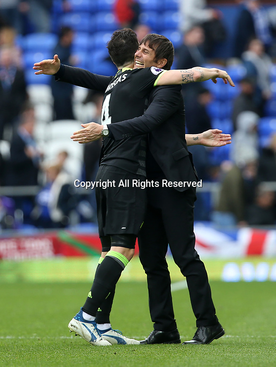 April 30th 2017, Goodison Park, Liverpool, England; EPL Premier league football, Everton versus Chelsea; Antonio Conte , Chelsea manager celebrates at he final whistle with Cesc Fabregas of Chelsea