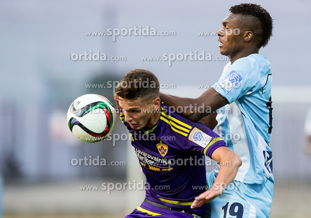 Petar Stojanovic #30 of Maribor vs Eleke Blessing Chibuike #19 of Gorica during football match between ND Gorica and NK Maribor in 9th Round of Prva liga Telekom Slovenije 2015/16, on September 12, 2015, in Sports centrum Nova Gorica, Slovenia. Photo by Vid Ponikvar / Sportida