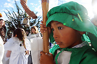 "In a pre-Christmas tradition which began in 1957, the Jimenez family of Castroville put on their annual ""posada,"" with friends, family and guests celebrating the holiday season together. Posada"" means ""inn"" in Spanish, and for this occasion, children dressed as Biblical figures reenacted Mary and Joseph's search for shelter during their Biblical journey from Nazareth to Bethlehem. Moving from house to house, the ""peregrinos,"" or pilgrims, trade touching verses in song with the ""hosteleros,"" the innkeepers, inside, until at last, shelter is found."