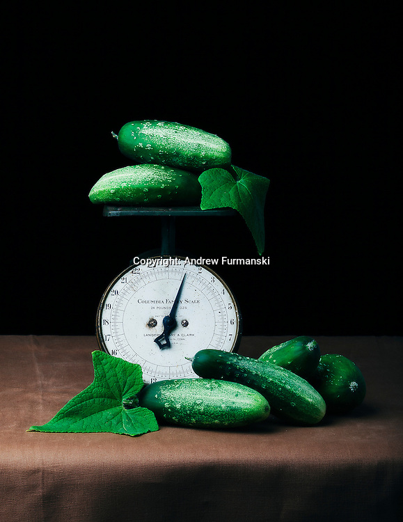 Vintage Scale with Cucumbers