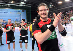 11.03.2016, Leipzig, GER, Handball Länderspiel, Deutschland vs Katar, Herren, im Bild Evgeni Pevnov (GER #28) // during the men's Handball international Friendlies between Germany and Qatar in Leipzig, Germany on 2016/03/11. EXPA Pictures © 2016, PhotoCredit: EXPA/ Eibner-Pressefoto/ Modla<br /> <br /> *****ATTENTION - OUT of GER*****