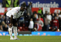 Photo: Paul Thomas.<br /> England v Macedonia. UEFA European Championships 2008 Qualifying. 07/10/2006.<br /> <br /> Dejected Ledley King of England spits after the match.