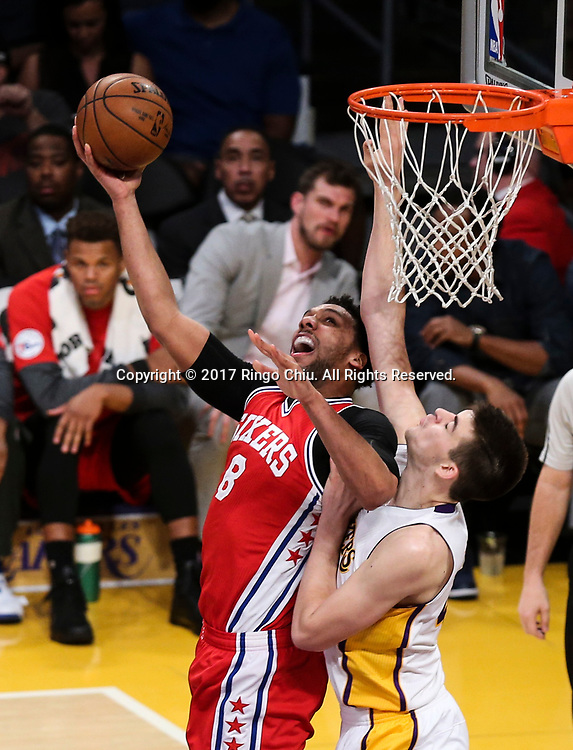 Philadelphia 76ers center Jahlil Okafor (#8) goes up against Los Angeles Lakers center Ivica Zubac (#40) during an NBA basketball game Tuesday, March 12, 2017, in Los Angeles. <br /> (Photo by Ringo Chiu/PHOTOFORMULA.com)<br /> <br /> Usage Notes: This content is intended for editorial use only. For other uses, additional clearances may be required.