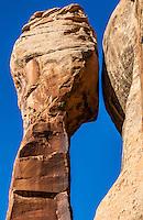 A freestanding sandstone pillar in Indian Creek Canyon, Utah, USA.