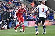 Middlesbrough Defender, Ritchie De Laet on the ball during the Sky Bet Championship match between Bolton Wanderers and Middlesbrough at the Macron Stadium, Bolton, England on 16 April 2016. Photo by Mark Pollitt.