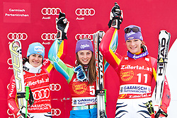 11.03.2010, Kandahar Strecke Damen, Garmisch Partenkirchen, GER, FIS Worldcup Alpin Ski, Garmisch, Lady Giant Slalom, im Bild Siegerfoto, v.l. Hoelzl Kathrin, ( GER, #6 ), Ski Fischer, Maze Tina, ( SLO, #5 ), Ski Stoeckli und Riesch Maria, ( GER, #11 ), Ski Head, EXPA Pictures © 2010, PhotoCredit: EXPA/ J. Groder / SPORTIDA PHOTO AGENCY