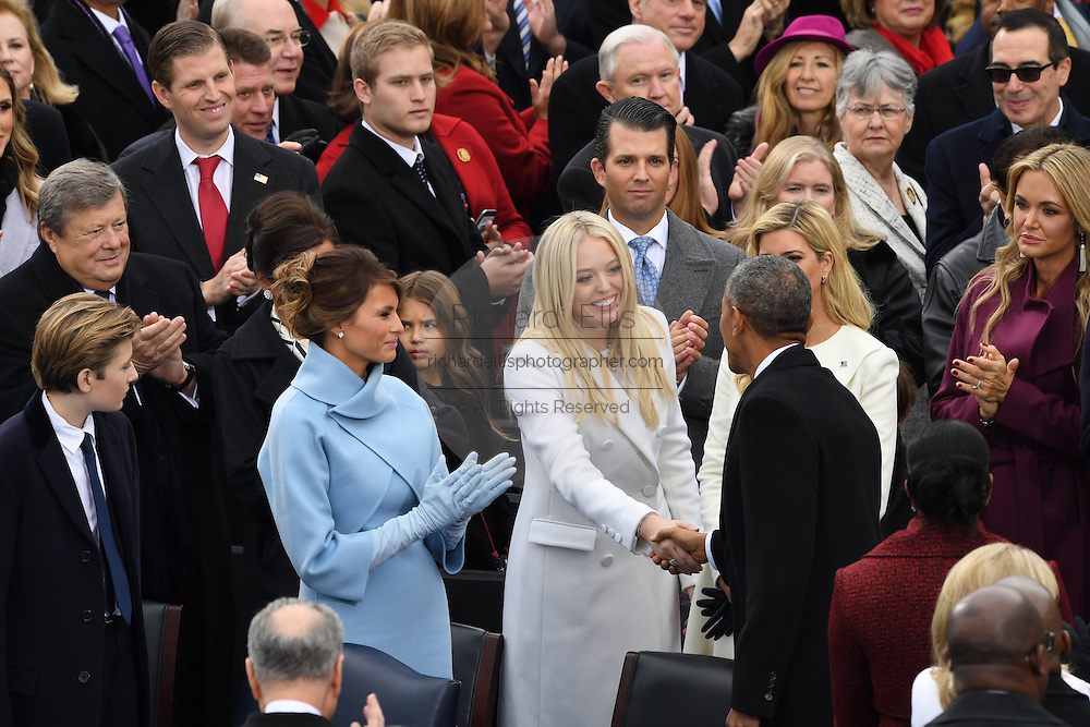President Barack Obama greets Tiffany Trump as he arrive for the 68th President Inaugural Ceremony on Capitol Hill January 20, 2017 in Washington, DC. Donald Trump became the 45th President of the United States in the ceremony.