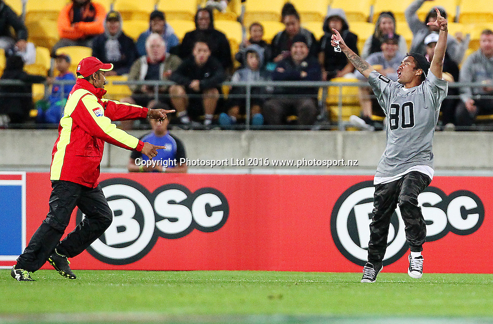 Pitch invader during the Round 7 NRL match, Canterbury-Bankstown Bulldogs v Vodafone Warriors at Westpac Stadium, Wellington. 16th April 2016. Copyright Photo.: Grant Down / www.photosport.nz