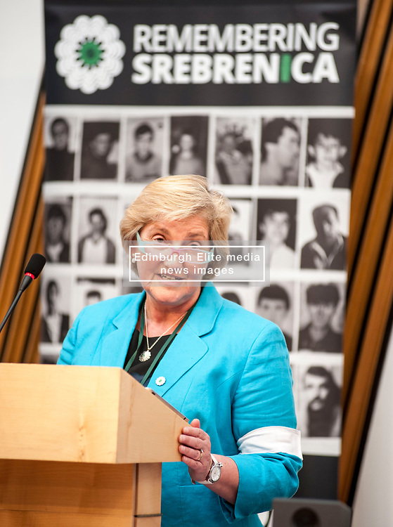 Chair of Remembering Srebrenica Scotland the Very Reverend Lorna Hood spoke at an event remembering the massacre at Srebrenica during the Yugoslav war. <br /> <br /> © Dave Johnston/ EEm