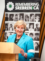 Chair of Remembering Srebrenica Scotland the Very Reverend Lorna Hood spoke at an event remembering the massacre at Srebrenica during the Yugoslav war. <br /> <br /> &copy; Dave Johnston/ EEm