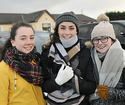 Supporting Castlebar at junior Cup rugby match were Ellen and Chloe McMarrow with Sophie Mannion. Pic Conor McKeown