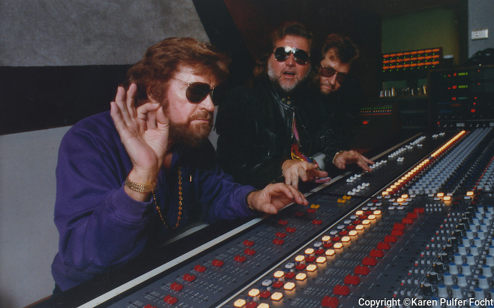 Sam Phillips at Phillips Recording in the early 90's in Memphis, Tennessee. He is with his sons Knox Phillips and Jerry Phillips.