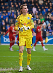 GENK, BELGIUM - Wednesday, October 23, 2019: KRC Genk's goalkeeper Maarten Vandevoordt looks dejected as Liverpool score the opening goal from a penalty kick during the UEFA Youth League Group E match between KRC Genk Under-19's and Liverpool FC Under-19's at the KRC Genk Arena Stadium B. (Pic by David Rawcliffe/Propaganda)