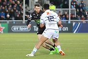 Cardiff Blues centre Willis Halaholo (12) looks for a way round the Warriors defence during the Heineken Champions Cup match between Glasgow Warriors and Cardiff Blues at Scotstoun Stadium, Glasgow, Scotland on 13 January 2019.