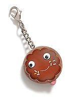 Donut keychain on white background