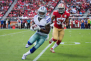 San Francisco 49ers inside linebacker Michael Wilhoite (57) chases down Dallas Cowboys running back Lance Dunbar (25) at Levis Stadium in Santa Clara, Calif., on October 2, 2016. (Stan Olszewski/Special to S.F. Examiner)