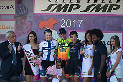 The top three finishers of Stage 9 of the Giro Rosa - a 122.3 km road race, between Centola fraz. Palinuro and Polla on July 8, 2017, in Salerno, Italy. (Photo by Balint Hamvas/Velofocus.com)