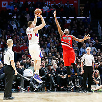 12 December 2016: LA Clippers forward Blake Griffin (32) takes a jump shot over Portland Trail Blazers forward Maurice Harkless (4) during the LA Clippers 121-120 victory over the Portland Trail Blazers, at the Staples Center, Los Angeles, California, USA.