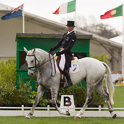 Andrew Nicholson (NZL) and Avebury compete in the dressage test during the first day of the 2013 Mitsubishi Motors Badminton Horse Trials.  Friday 03  May  2013.  Badminton, Gloucs, UK..Photo by: Mark Chappell/i-Images