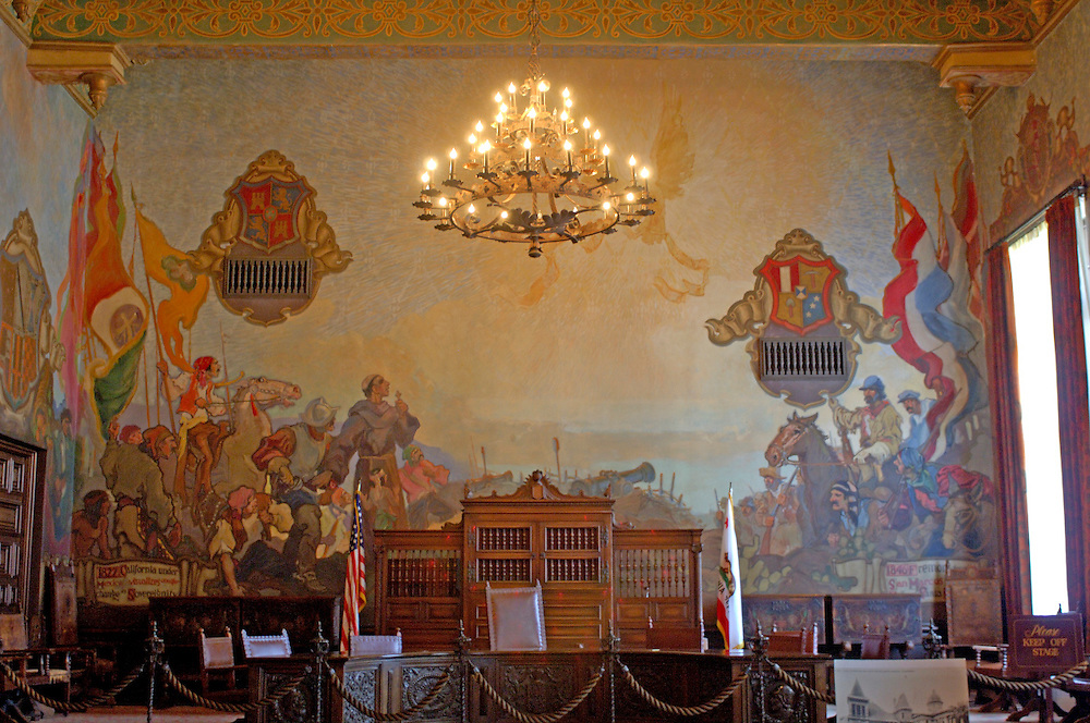 Mural room, County Courthouse, Downtown, Santa Barbara, California, United States of America