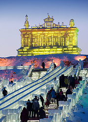 Images from the annual Harbin Ice sculpture festival in China in winter 2009