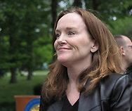 Hempstead, New York, USA. May 30, 2019. U.S. Representative Kathleen Rice (NY-04) chats with people after her press conference to announce she's introducing Three Bills to Congress to Combat Impaired and Distracted Driving. Congresswoman Rice announced the package of 3 bills - End Drunk Driving Act, the Prevent Impaired Driving Child Endangerment Act, and the Distracted Driving Education Act of 2019 - at the Drunk Driving Victims Memorial in Eisenhower Park.