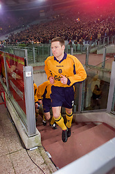 ROME, ITALY - Thursday, February 15, 2001: Liverpool's Nicky Barmby walks out before the UEFA Cup 4th Round 1st Leg match against AS Roma at the Stadio Olimpico. (Pic by David Rawcliffe/Propaganda)