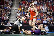 Oklahoma State University's Alex Dieringer celebrates after pinning Northern Iowa's David Bonin to win third-place Saturday, March 23, 2013, at the NCAA Division I Wrestling Championships at Wells Fargo Arena in Des Moines, Iowa. Photo by Scott Morgan 2013