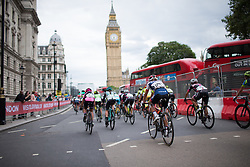 Clara Koppenburg (GER) of Cervélo-Bigla Cycling Team and the peloton rides past the Big Ben during the Prudential RideLondon Classique, a 66 km road race in London on July 30, 2016 in the United Kingdom.