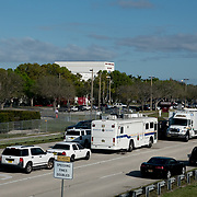 THURSDAY, FEBRUARY 15- 2018---PARKLAND, FLORIDA--<br /> Police and emergency vehicles parked near the entrance to Marjory Stoneman Douglass High School one day after a mass shooting with 17 casualties.<br /> (Photo by Angel Valentin/FREELANCE)