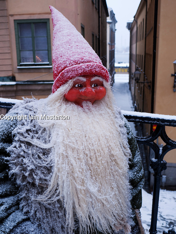 Model of Troll in Gamla Stan old town district in winter in Stockholm Sweden