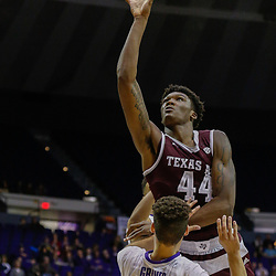Feb 4, 2017; Baton Rouge, LA, USA; Texas A&M Aggies forward Robert Williams (44) shoots over and draws a foul from LSU Tigers guard Marshall Graves (12) during the first half at the Pete Maravich Assembly Center. Mandatory Credit: Derick E. Hingle-USA TODAY Sports