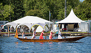 Henley on Thames, England, United Kingdom, 4th July 2019, Henley Royal Regatta,  at the one mile and one eight barrier,  Henley Reach, [© Peter SPURRIER/Intersport Image]<br /> <br /> 11:24:03 1919 - 2019, Royal Henley Peace Regatta Centenary,