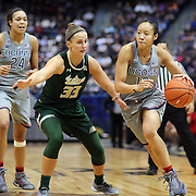 HARTFORD, CONNECTICUT- JANUARY 10: Saniya Chong #12 of the Connecticut Huskies drives past Kitija Laksa #33 of the South Florida Bulls during the the UConn Huskies Vs USF Bulls, NCAA Women's Basketball game on January 10th, 2017 at the XL Center, Hartford, Connecticut. (Photo by Tim Clayton/Corbis via Getty Images)