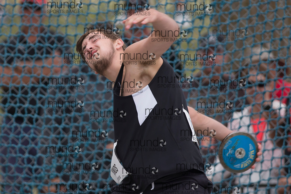 OTTAWA, ON -- 06 July 2018: Johny Vanos throwing in the U20 discus at the 2018 Athletics Canada National Track and Field Championships held at the Terry Fox Athletics Facility in Ottawa, Canada. (Photo by Sean Burges / Mundo Sport Images).