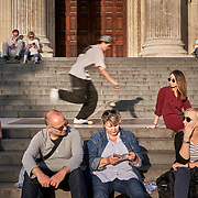 A skateboarder at the St Paul's Cathedral in London, United Kingdom.