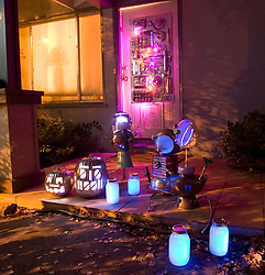 Common household objects, sometimes even long-forgotten appliances, tools or other junk can be used to make an inexpensive, imaginative Halloween display like this, photographed Friday, Oct. 7, 2011 in Oakland, Calif. (Photo by D. Ross Cameron)