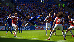 CARDIFF, WALES - Sunday, September 2, 2018: Cardiff City's Bobby Reid sees his overhead bicycle kick go over the bar during the FA Premier League match between Cardiff City FC and Arsenal FC at the Cardiff City Stadium. (Pic by David Rawcliffe/Propaganda)