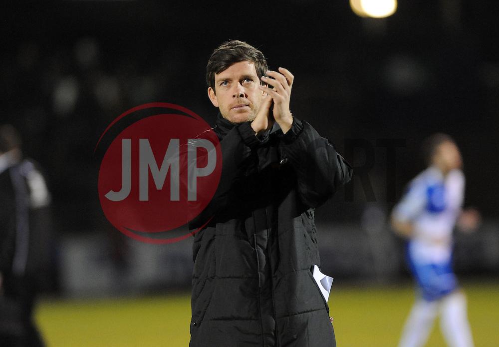 Bristol Rovers Manager, Darrell Clarke applauds the fans - Photo mandatory by-line: Neil Brookman/JMP - Mobile: 07966 386802 - 24/02/2015 - SPORT - Football - Bristol - Memorial Stadium - Bristol Rovers v Braintree - Vanarama Football Conference